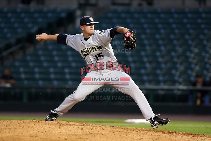 June 20th 2008:  Pitcher David Roberts of the Mahoning Valley Scrappers, Class-A affiliate of the Cleveland Indians, during a game at Frontier Field in Rochester, NY - home of the Rochester Red Wings.  Photo by:  Mike Janes/Four Seam Images