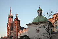 These two churches dominate the central square of Krakow's Old Town