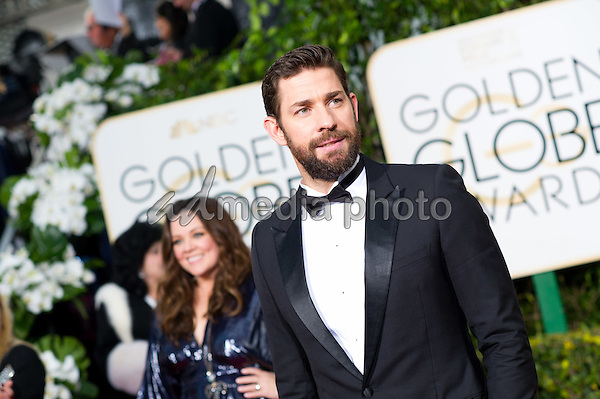 John Krasinski, presenter, arrives at the 73rd Annual Golden Globe Awards at the Beverly Hilton in Beverly Hills, CA on Sunday, January 10, 2016. Photo Credit: HFPA/AdMedia