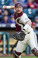Texas A&M Aggies catcher Michael Barash (5) makes a throw to first base during Houston College Classic against the Nebraska Cornhuskers on March 6, 2015 at Minute Maid Park in Houston, Texas. Texas A&M defeated Nebraska 2-1. (Andrew Woolley/Four Seam Images)