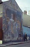Belfast 1970s Wall painting mural in protestant area. Portrait of George Vi King of Great Britain and Ireland and the Dominions Beyond to Asia,
