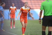 Houston, TX - Saturday May 13, 2017: Houston Dash forward Kealia Ohai (7) shows frustration to an official during a regular season National Women's Soccer League (NWSL) match between the Houston Dash and Sky Blue FC at BBVA Compass Stadium. Sky Blue won the game 3-1.