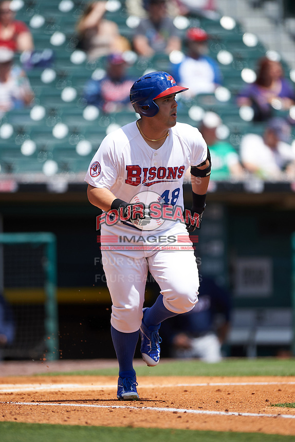Buffalo Bisons designated hitter Jesus Montero (48) during a game against the Toledo Mudhens on May 18, 2016 at Coca-Cola Field in Buffalo, New York.  Buffalo defeated Toledo 7-5.  (Mike Janes/Four Seam Images)