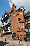 Rochester Kent UK. Eastgate House in the High Street.  Built in 1590 for the Alderman and Mayor of Rochester, Sir Peter Buck, the house was actually a boarding school for young women during Dickens' lifetime. Another piece of Dickens' memorabilia found here is his Swiss Chalet, previously situated at his home at Gad's Hill, which he used for his writing during the summer months. Charles Dickens used this building as Miss Twinkerton's school for young ladies in The Mystery of Edwin Drood and the Westgate House Seminary for young ladies in The Pickwick Papers.