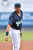 Asheville Tourists third baseman Johnny Cresto (17) during a game against the Lakewood BlueClaws at McCormick Field on August 3, 2019 in Asheville, North Carolina. The BlueClaws defeated the Tourists 10-6. (Tony Farlow/Four Seam Images)