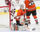 Sean Malone (Harvard - 17), Colton Phinney (Princeton - 33) - The Harvard University Crimson defeated the visiting Princeton University Tigers 5-0 on Harvard's senior night on Saturday, February 28, 2015, at Bright-Landry Hockey Center in Boston, Massachusetts.