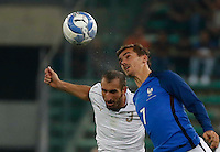 Antoine Griezmann and Giorgio Chiellini  during the  friendly  soccer match,between Italy  and  France   at  the San  Nicola   stadium in Bari Italy , September 02, 2016<br /> <br /> amichevole di calcio tra le nazionali di Italia e Francia