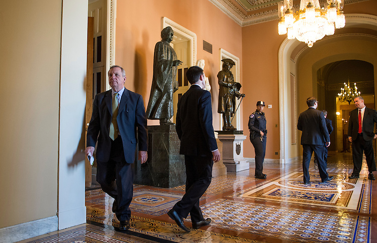 UNITED STATES - MAY 14: Sen. Richard Durbin, D-Ill., leaves the Senate Democrats' weekly policy luncheon on Tuesday, May 14, 2013. (Photo By Bill Clark/CQ Roll Call)