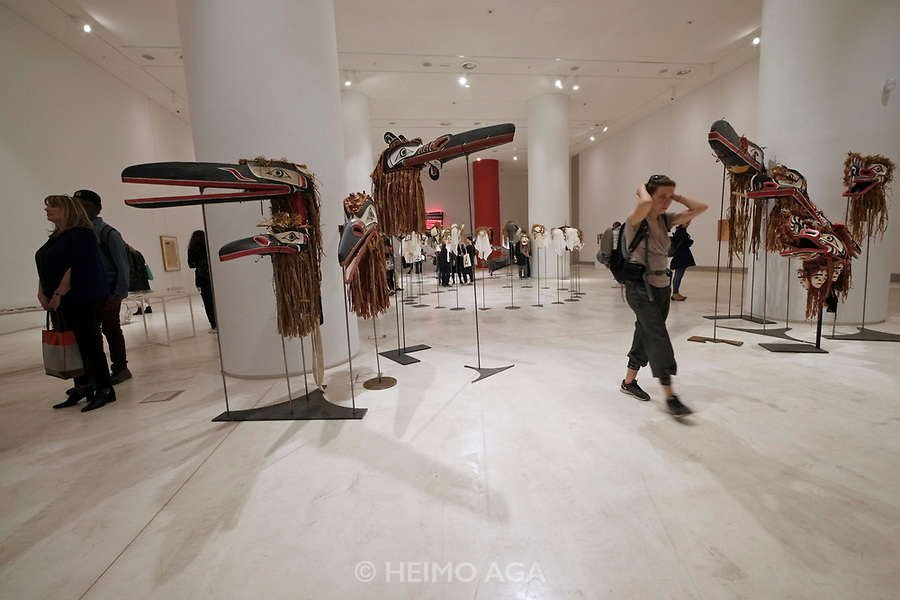 Athens, Greece. Opening days of documenta14.<br /> EMST, National Museum Of Contemporary Art. Raven masks and other exhibits from Vancouver indigenous Indian tribes.