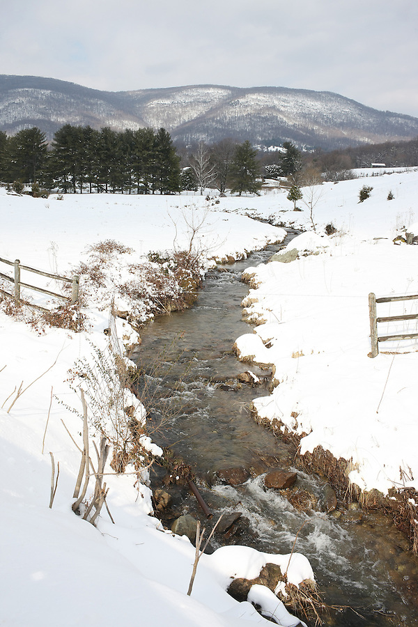 Snow covered river in Albemarle County, Va.