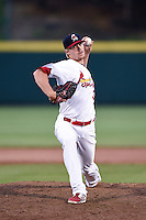 Springfield Cardinals pitcher Lee Stoppelman (39) delivers a pitch during a game against the Frisco Rough Riders on June 1, 2014 at Hammons Field in Springfield, Missouri.  Springfield defeated Frisco 3-2.  (Mike Janes/Four Seam Images)