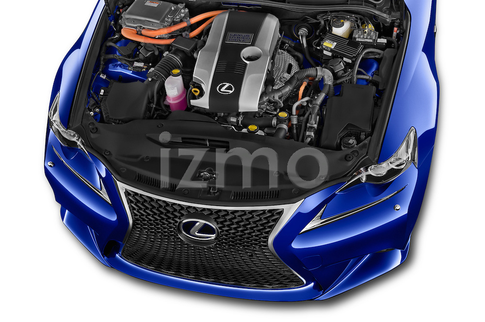 Car Stock 2015 Lexus IS F SPORT LINE 4 Door Sedan Engine high angle detail view