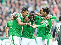 14.02.2015, Weserstadion, Bremen, GER, 1. FBL, SV Werder Bremen vs FC Augsburg, 21. Runde, im Bild Jubel um Assani Lukimya (SV Werder Bremen #5), zweiter von links, nach dessen Kopfballtreffer zum 1:0, hier mit, von links, Davie Selke (SV Werder Bremen #27), Theodor Gebre Selassie (SV Werder Bremen #23) und Santiago Garcia (SV Werder Bremen #2) // during the German Bundesliga 21th round match between SV Werder Bremen and FC Augsburg at the Weserstadion in Bremen, Germany on 2015/02/14. EXPA Pictures © 2015, PhotoCredit: EXPA/ Andreas Gumz<br /> <br /> *****ATTENTION - OUT of GER***** <br /> Football Calcio 2014/2015<br /> Bundesliga Germania<br /> Foto Expa / Insidefoto