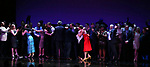 Sutton Foster and cast during the curtain Call bows for the Actors Fund's 15th Anniversary Reunion Concert of 'Thoroughly Modern Millie' on February 18, 2018 at the Minskoff Theatre in New York City.