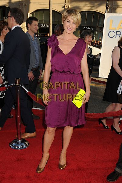 "Jenna Elfman.""Larry Crowne"" Los Angeles Premiere held at Grauman's Chinese Theatre.  Hollywood, California, USA..27th June 2011.full length purple dress sleeveless gold bronze shoes clutch jimmy choo neon fluorescent yellow.CAP/ADM/BP.©Byron Purvis/AdMedia/Capital Pictures."