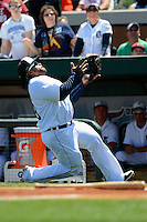 Detroit Tigers first baseman Prince Fielder #28 catches a pop up in foul territory during a Spring Training game against the Tampa Bay Rays at Joker Marchant Stadium on March 29, 2013 in Lakeland, Florida.  (Mike Janes/Four Seam Images)