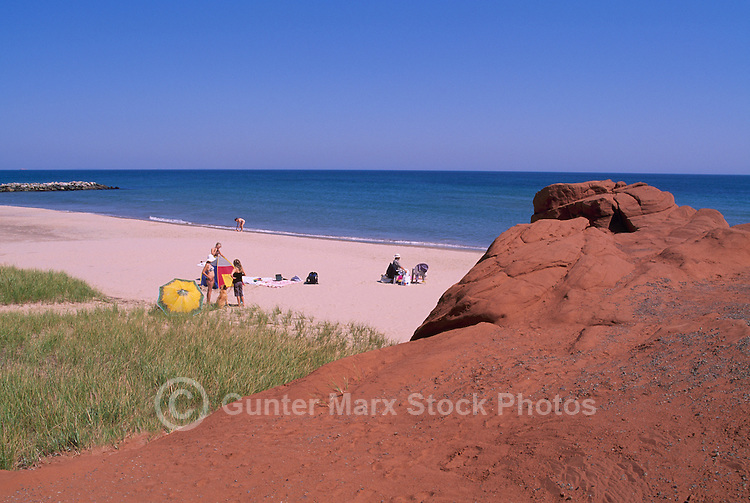 Ile du Havre-aux-Maisons, Iles de la Madeleine, Quebec, Canada - Families sunbathing on Beach at Dune du Sud along Gulf of St. Lawrence - (South Dune, House Harbour Island, Magdalen Islands)