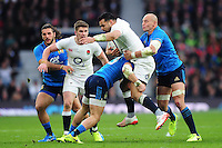 Ben Te'o of England takes on the Italy defence. RBS Six Nations match between England and Italy on February 26, 2017 at Twickenham Stadium in London, England. Photo by: Patrick Khachfe / Onside Images