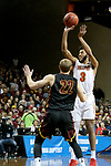 SIOUX FALLS, SD - MARCH 24: Markese Mayfield #3 from Ferris State shoots over Darin Peterka #22 from Northern State during their game at the 2018 Men's NCAA DII National Championship at the Sanford Pentagon in Sioux Falls, SD. (Photo by Dave Eggen/Inertia)