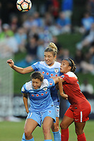 Boyds, MD - Saturday August 26, 2017: Sofia Huerta, Kristie Mewis, Mallory Pugh during a regular season National Women's Soccer League (NWSL) match between the Washington Spirit and the Chicago Red Stars at Maureen Hendricks Field, Maryland SoccerPlex.