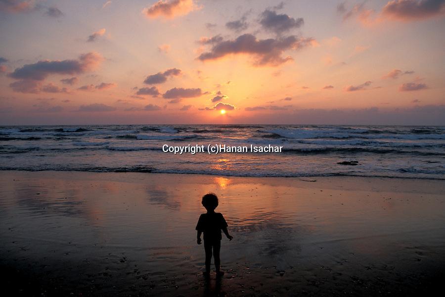 Israel, Sharon region, Sunset at Caesarea beach