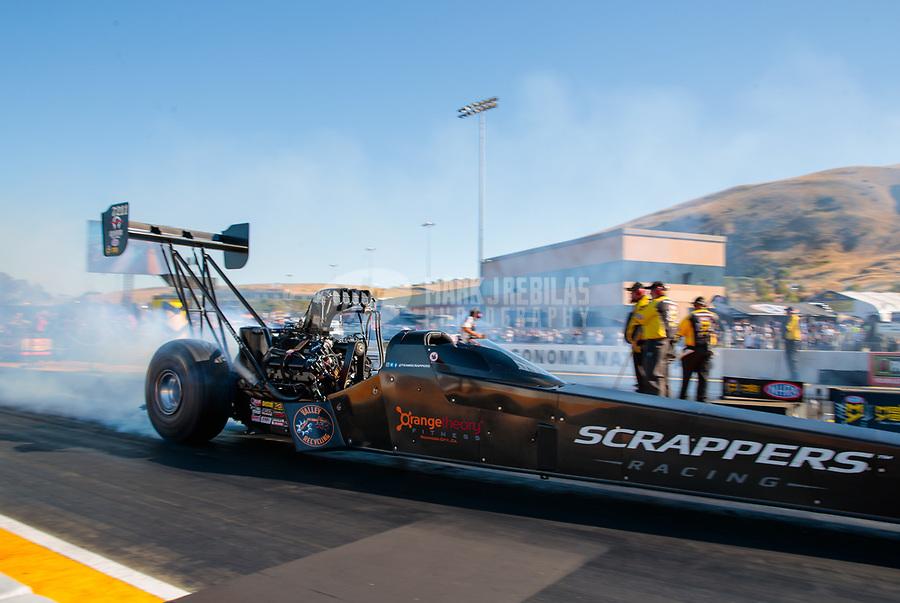 Jul 27, 2019; Sonoma, CA, USA; NHRA top fuel driver Mike Salinas during qualifying for the Sonoma Nationals at Sonoma Raceway. Mandatory Credit: Mark J. Rebilas-USA TODAY Sports