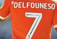 Detail of the back of Blackpool's Nathan Delfouneso's shirt, showing new EFL lettering<br /> <br /> Photographer Kevin Barnes/CameraSport<br /> <br /> The EFL Sky Bet League One - Wycombe Wanderers v Blackpool - Saturday 4th August 2018 - Adams Park - Wycombe<br /> <br /> World Copyright &copy; 2018 CameraSport. All rights reserved. 43 Linden Ave. Countesthorpe. Leicester. England. LE8 5PG - Tel: +44 (0) 116 277 4147 - admin@camerasport.com - www.camerasport.com
