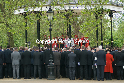 Combined Cavalry Old Comrades Association and parade Hyde Park London UK. The service at the Hyde Park Band Stand.