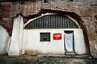 September, 1985. Shaanxi Province, China. The cave of Yan'an where Mao Zedong ended his Long March and stayed from 1937-1947 is now a museum. This is the exterior of the cave where Mao Zedong lived for ten years.