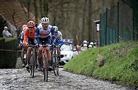 (eventual race winner) Jasper Stuyven (BEL/Trek-Segafredo) leading the race up the Molenberg<br /> <br /> 75th Omloop Het Nieuwsblad 2020 (1.UWT)<br /> Gent to Ninove (BEL): 200km<br /> <br /> ©kramon