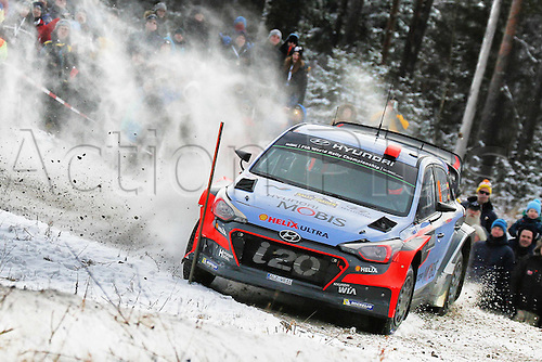 14.02.2016. Värmullsåsen, Sweden. WRC Rally of Sweden, final stage SS21.  Dani Sordo (ESP) and Marc Marti(ESP)- Hyundai I20 WRC