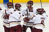 Michael Kim (BC - 4), Connor Moore (BC - 7), Christopher Brown (BC - 10), Austin Cangelosi (BC - 9) - The Boston College Eagles defeated the visiting UConn Huskies 2-1 on Tuesday, January 24, 2017, at Kelley Rink in Conte Forum in Chestnut Hill, Massachusetts.