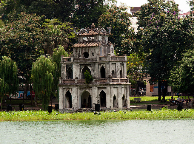 Hanoi, Vietnam, Turtle Tower stands on an island inside Hoan Kiem Lake. photo taken July 2008.
