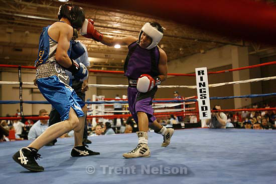 Salt Lake City - Louis Byrd (in purple) vs. Anthony Tulley (blue) in the 112 lb match, 2009 Golden Gloves National Tournament of Champions boxing action at the Salt Palace Convention Center. Wednesday May 6, 2009.