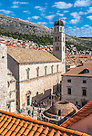 An aerial view of the old town in Dubrovnik, Croatia.