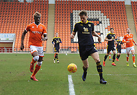 Blackpool's Armand Gnanduillet vies for possession with Oxford United's Rob Dickie<br /> <br /> Photographer Kevin Barnes/CameraSport<br /> <br /> The EFL Sky Bet League One - Blackpool v Oxford United - Saturday 23rd February 2019 - Bloomfield Road - Blackpool<br /> <br /> World Copyright © 2019 CameraSport. All rights reserved. 43 Linden Ave. Countesthorpe. Leicester. England. LE8 5PG - Tel: +44 (0) 116 277 4147 - admin@camerasport.com - www.camerasport.com