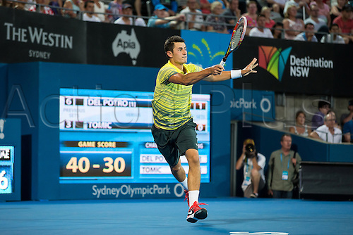 11.01.2014. Sydney Australia.  Bernard Tomic during the Mens Final, Apia International, Sydney Olympic Park Tennis Centre, Sydney, Australia, Saturday, 11 Jan 2014.