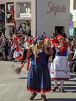 Hexen beim Aufzug der Masken beim Nassereither Schellerlauf, Fasnacht in Nassereith, Bezirk Imst, Tirol, &Ouml;sterreich, Europa, immaterielles UNESCO Weltkulturerbe<br /> witches at the gathering of the masks, Nassereither Schellerlauf-Fasnacht, Nassereith, Tyrol, Austria Europe, Intangible World Heritage