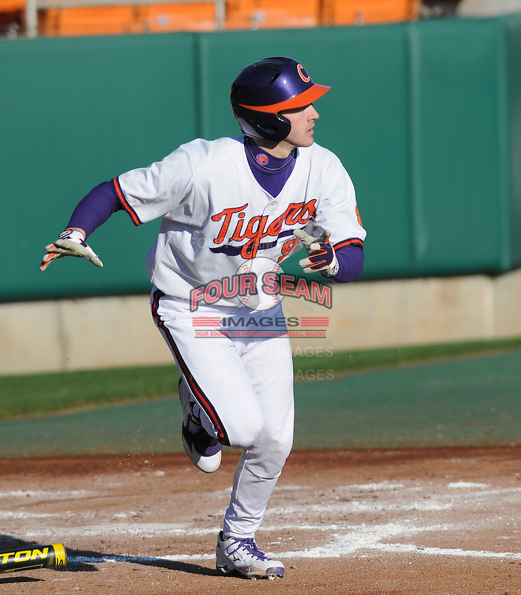 Right fielder Steven Duggar (9) of the Clemson Tigers in a game against the Wofford Terriers on Wednesday, March 6, 2013, at Doug Kingsmore Stadium in Clemson, South Carolina. Clemson won, 9-2. (Tom Priddy/Four Seam Images)