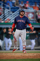 Lowell Spinners Joe Davis (55) at bat during a NY-Penn League game against the Batavia Muckdogs on July 10, 2019 at Dwyer Stadium in Batavia, New York.  Batavia defeated Lowell 8-6.  (Mike Janes/Four Seam Images)