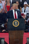 United States President Donald J. Trump delivers remarks at his Salute to America event in Washington D.C. on July 4, 2019.  The event has been criticized as politicizing a traditionally non-political holiday.<br /> <br /> Credit: Stefani Reynolds / CNP
