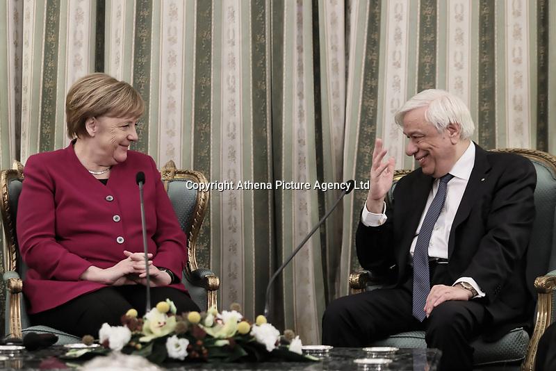 Pictured: German Chancellor Angela Merkel Greek President Prokopis Pavlopoulos at the Presidential Mansion (Proedriko Megaro) in Athens, Greece.<br /> Re: Official visit of German Chancellor Angela Merkel  to Athens, Greece.
