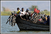 Malawi - the Mvera ferry at the Junction of the Shire River and Lake Malombe, at the edge ofLiwonde National Park .... Pic Donald MacLeod 29.05.05