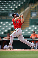 Boston Red Sox Sam Travis (59) hits a home run during a Florida Instructional League game against the Baltimore Orioles on October 8, 2018 at the Ed Smith Stadium in Sarasota, Florida.  (Mike Janes/Four Seam Images)