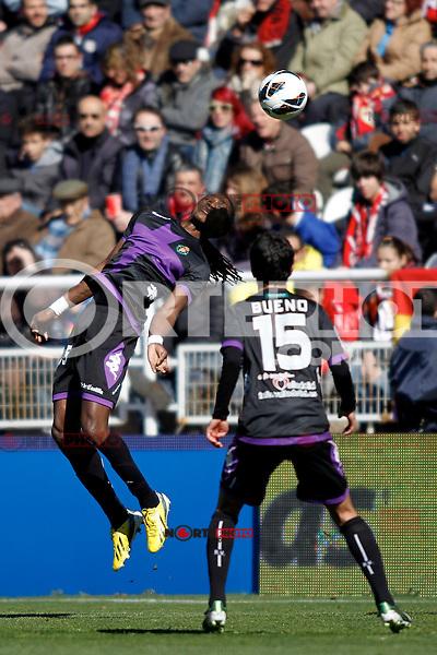 Real Valladolid's Manucho (L) and Bueno  during La Liga  match. February 24,2013.(ALTERPHOTOS/Alconada)