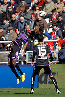 Real Valladolid's Manucho (L) and Bueno  during La Liga  match. February 24,2013.(ALTERPHOTOS/Alconada)