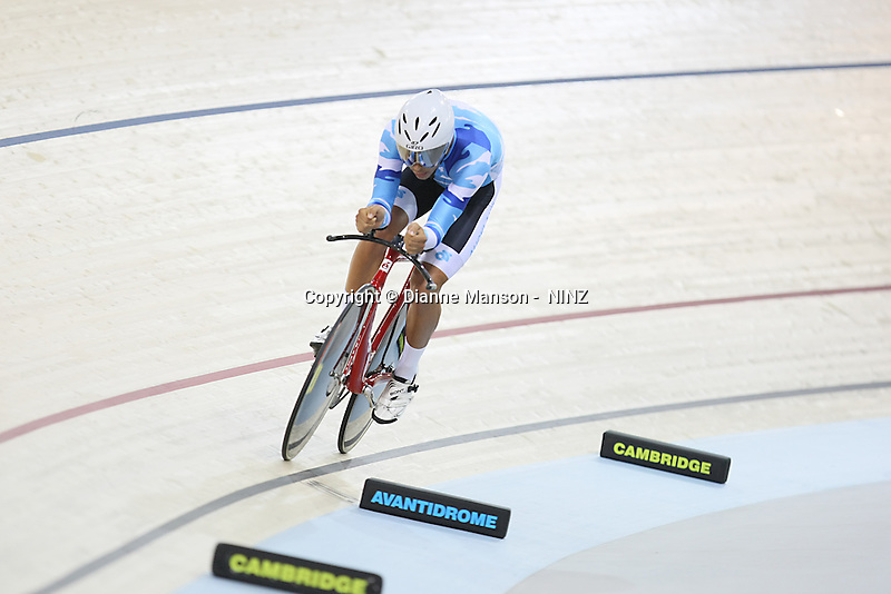 Auckland's Myron Simpson in the ME 4000m Avanti Individual Pursuit at the BikeNZ Elite & U19 Track National Championships, Avantidrome, Home of Cycling, Cambridge, New Zealand, Thursday, March 13, 2014. Credit: Dianne Manson
