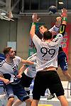 09.11.2019, Hansehalle Luebeck, GER,  2.Bundesliga Handball VfL Luebeck-Schwartau - TV Emsdetten<br /> <br /> im Bild / picture shows<br /> Janik Schrader VfL Luebeck-Schwartau im Sprungwurf ueber Steffen Köhler/Koehler VfL Luebeck-Schwartau, Johannes Wasielewski (TV Emsdetten) und Jan Mojzis (TV Emsdetten)<br /> <br /> Foto © nordphoto / Tauchnitz