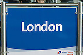 England. London,  National Airport Express blue and white sign.