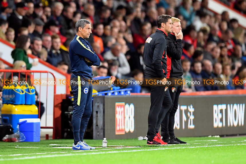 Brighton & Hove Albion Manager Chris Hughton left and AFC Bournemouth Manager Eddie Howe right watch the match progress during AFC Bournemouth vs Brighton & Hove Albion, Caraboa Cup Football at the Vitality Stadium on 19th September 2017